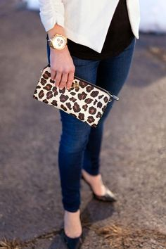 Ivory jacket and Tory Burch leopard clutch on Lipgloss & Labels.