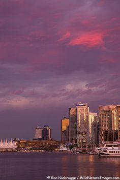 Downtown Vancouver and Coal Harbour at sunset, Vancouver, British Columbia, Canada