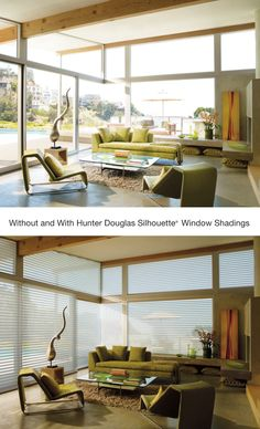 Realize the beauty and benefit of adding Silhouette® Window Shadings to soften harsh afternoon light or enhance gentle morning and evening light. ♦ Hunter Douglas Window Treatments #ContemporaryLivingroom