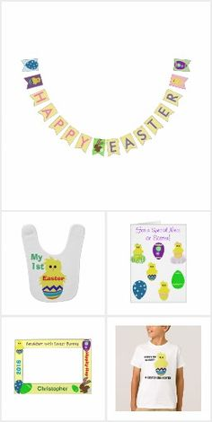 Easter Spring Themed Gifts for Everyone.  One-of-a-kind Shirts, Egg Hunt Bags, Breakfast with Easter Bunny Frames, Mugs & Plates for Easter Bunny, Bunting Banners, Premium Chocolates, Gift Bags, Baby's 1st Easter Bibs and more!  Personalize for free.  Original Graphic Artwork & Verse Designs by TamiraZDesigns.