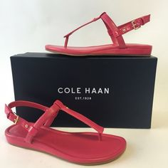 NIB Cole Haan Patent Leather Thong Sandals Upper leather, synthetic sole and adjustable buckle closure at ankle. 127NIB . Color: Electra Style: Boardwalk - TTS Cole Haan Shoes Sandals