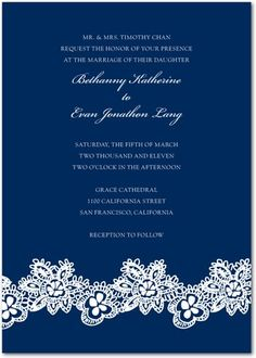 navy invitation w/ lacey band design