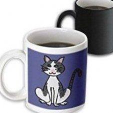 """Grey Cat Mug """"Fun Cute Grey and White Cat"""" Magic Transforming Mug, 11oz, Black/White Grey And White Cat, Grey Cats, Black And White, Lovers Pics, Dog Lovers, White Catsuit, Cat Mug, Green Eyes, Magic"""