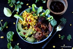 Barbecue Pork Salad with Cilantro, Corn and Avocado - The Wooden Skillet