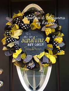 black and yellow deco mesh you are my sunshine wreath by BurlapAndBlossomsbyR on Etsy