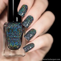 "If you like ""Black Holo Witch"" from the Simply Nailogical Collection, you will definitely fall in love with ""Snow in the Rainbow Night""! Holographic Nail Polish, Glitter Nail Polish, Holographic Glitter, Black Glitter Nails, Black Nail, Gel Polish, Holiday Nails, Christmas Nails, Christmas 2016"