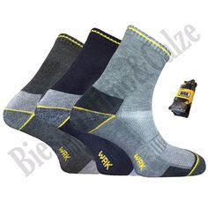 3 paia calze calzini da lavoro corti rinforzo tallone e punta work spugna WRK