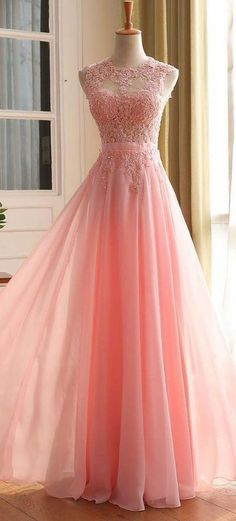 Modest Prom Dress,A-line Sleeveless Zipper Back Chiffon Lace Dress,pink evening dress