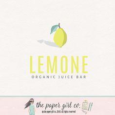 lemon logo fruit logo premade logo food blog by ThePaperGirlCo
