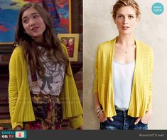 Riley's yellow cardigan on Girl Meets World.  Outfit Details: http://wornontv.net/49574/ #GirlMeetsWorld
