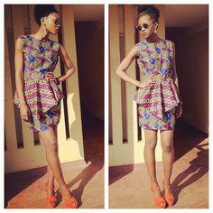 Peplum dress. African print