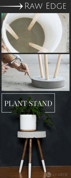 #homedecor #decor #home #art Raw Edge Concrete Plant Stand -- DIY --->> TUTORIAL #concrete #plant #stand #tutorial