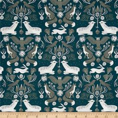 Dear Stella Folkwood Animal Damask Emerald from @fabricdotcom  Designed by Rae Ritchies for Dear Stella, this cotton print fabric features adorable woodland creatures in tonal hues. Perfect for quilting, apparel and home decor accents. Colors include white, navy, teal and shades of green.