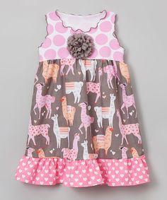 Another great find on #zulily! Gray & Pink Llama Ruffle A-Line Dress - Toddler & Girls #zulilyfinds