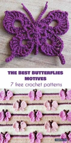 The Best 10 Butterfly Motifs and 7 Crochet Patterns Free The Best . - The Best 10 Butterfly Motifs and 7 Crochet Patterns Free The Best 10 Butterfly Motifs - Appliques Au Crochet, Crochet Motifs, Crochet Stitches Patterns, Crochet Designs, Knit Stitches, Stitch Patterns, Knitting Patterns, Sewing Patterns, Crochet Gifts