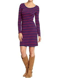 Women's Ruched Long-Sleeved Jersey Dress (Blue & Red Stripe). Old Navy. $19.94