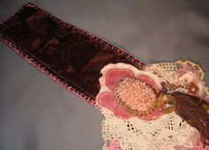 Shabby Brown and Bejeweled Fabric Cuff. $50.00, via Etsy.