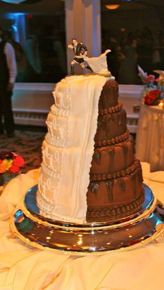His & Hers / Chocolate & Vanilla  Wedding Cake with Rugby Cake Topper
