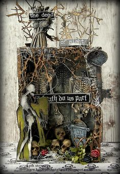 Dead Of Night Vignette Box decorated with lots of Tim Holtz Halloween Idea-ology Halloween Diorama, Halloween Shadow Box, Halloween Paper Crafts, Halloween Tags, Halloween Goodies, Halloween Projects, Holidays Halloween, Vintage Halloween, Halloween Decorations