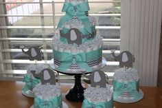 Elephant Diaper Cake Bundle; Mint & Gray Elephant Theme Diaper Cake; Elephant Theme Baby Shower Decorations; Mint Grey Chevron Diaper Cake by EveryLittleDetailLLC on Etsy https://www.etsy.com/listing/262039192/elephant-diaper-cake-bundle-mint-gray