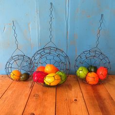 Wire, Hanging Basket Set With Wire Hangers, Handmade,
