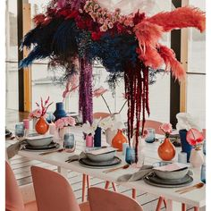 Bright pink floral installation over tablescape to inspire your colourful wedding. Marie's Wedding, Surfer Wedding, Wedding Table, Wedding Flowers, Modern Wedding Reception, Wedding Music, Reception Ideas, Wedding Bouquet, Floral Wedding
