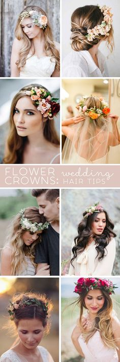 //Awesome wedding hair tips for wearing flower crowns! #weddings #floral #hair-style