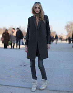 Grey Coat and Isabel Marant Wedge Trainer | Street Style