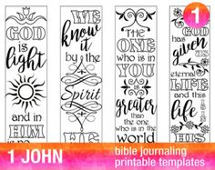 """MARK - 4 Bible journaling printable templates, instant download illustrated christian faith bookmarks, black and white prayer journal bible verse traceable stencils, bible stickers. ♥ Mark 5:36 """"Do not be afraid, only believe."""" ♥ Mark 9:23 """"Everything is possible for one who believes."""" ♥ Mark 10:9 Therefore what God has joined together, let no one separate."""" ♥ Mark 11:24 Therefore whatever you ask for in prayer, believe that you have received it, and it will be yours. This set is included…"""