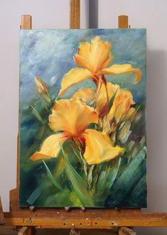 Yellow orchid flower palette knife painting. Oleg Buyko