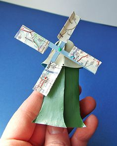 Tiny Paper Windmill tutorial from small world land. With free template. I like the use of map paper for the blades. Could use them to designate seating at a dinner table.