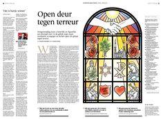 Open deur tegen terreur.  Illustration Gezienus Bruining.