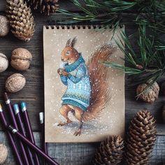 «Не забудьте закупиться на зиму орешками для белочек  #drawing #winter #december #letitsnow #snow #teatime #art #myart #sketchbook #pencils #colorpencils…»