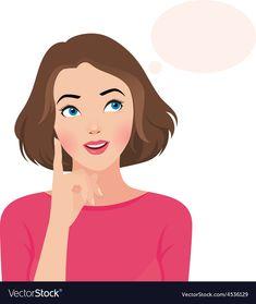 Portrait of a beautiful girl thinking Royalty Free Vector World Thinking Day, Girl Thinking, Cartoon Kunst, Cartoon Art, Dancing Drawings, Girl Emoji, Cute Couple Art, Cute Girl Wallpaper, Graphic Artwork