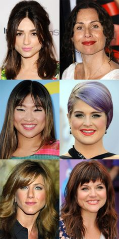 The Best (and Worst) Bangs for Pear-Shaped Faces - Beauty Editor - Hair Design Fine Hair Bangs, Curly Hair Cuts, Short Hair Cuts, Curly Hair Styles, Triangle Face Hairstyles, Face Shape Hairstyles, Haircut For Face Shape, Haircut For Big Forehead, Wavy Haircuts