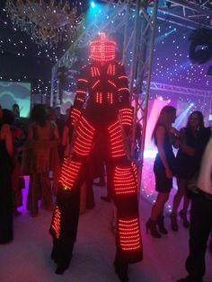 UV Robot Stilts. Big Foot Events.