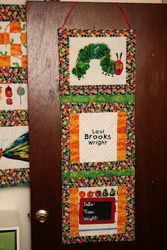 Door hanging for hospital that I will eventually embroider with his information as a keepsake! The Very Hungry Caterpillar