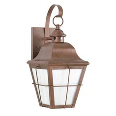 Sea Gull Lighting 8463D-44 Chatham 1 Light 21 inch Weathered Copper Outdoor Wall Lantern in Clear Seeded with inner white panels