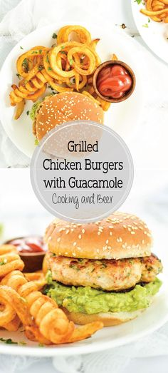 Grilled Chicken Burgers with Guacamole are a fun summer picnic recipe packed with bold flavors and a ton of texture!