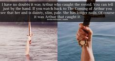 In the commentary Julian said that that was the Lady of the Lake and that the hand turned out too big...but I still say it's Arthur's.