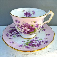 Vintage Aynsley Violette Tea Cup and Saucer 1960 by twolittleowls Violets May Day Beltane Flowers Teacups & Saucers