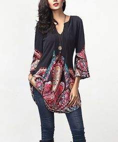 Loving this Charcoal Paisley Notch Neck Bell-Sleeve Tunic on #zulily! #zulilyfinds