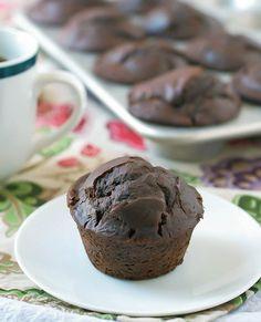 Chocolate Chunk Coffee Muffins. Healthy recipe for double chocolate muffins with twice the chocolate and coffee!