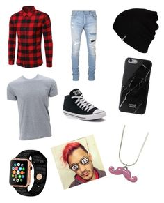 """""""Markiplier"""" by anngel24 ❤ liked on Polyvore featuring Balmain, Converse, Hurley, Native Union, men's fashion and menswear"""