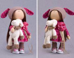 Bambola artigianale giocattolo Tilda interni di AnnKirillartPlace