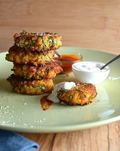 Kale-Sweet potato-and-Quinoa-Fritters~dipping sauce is nice. Just be patient with the frying. I tend to rush it.