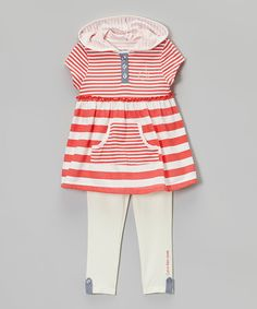 Look what I found on #zulily! Coral & White Stripe Tunic & Leggings - Infant by Calvin Klein Jeans #zulilyfinds