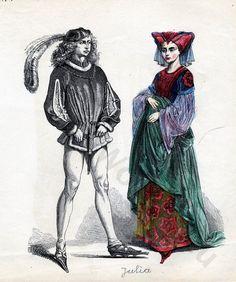 Gothic fashion in the late 15th century, France around 1480, aka Burgundian fashion