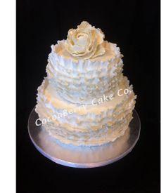 White Ruffles Wedding Cake