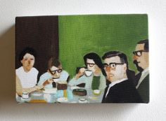 Cup of tea / Tiny canvas print company family tea by tushtush, $20.00